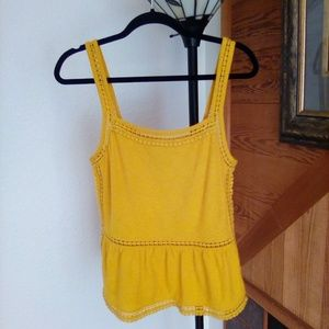 Yellow Knit Loose Tank Top